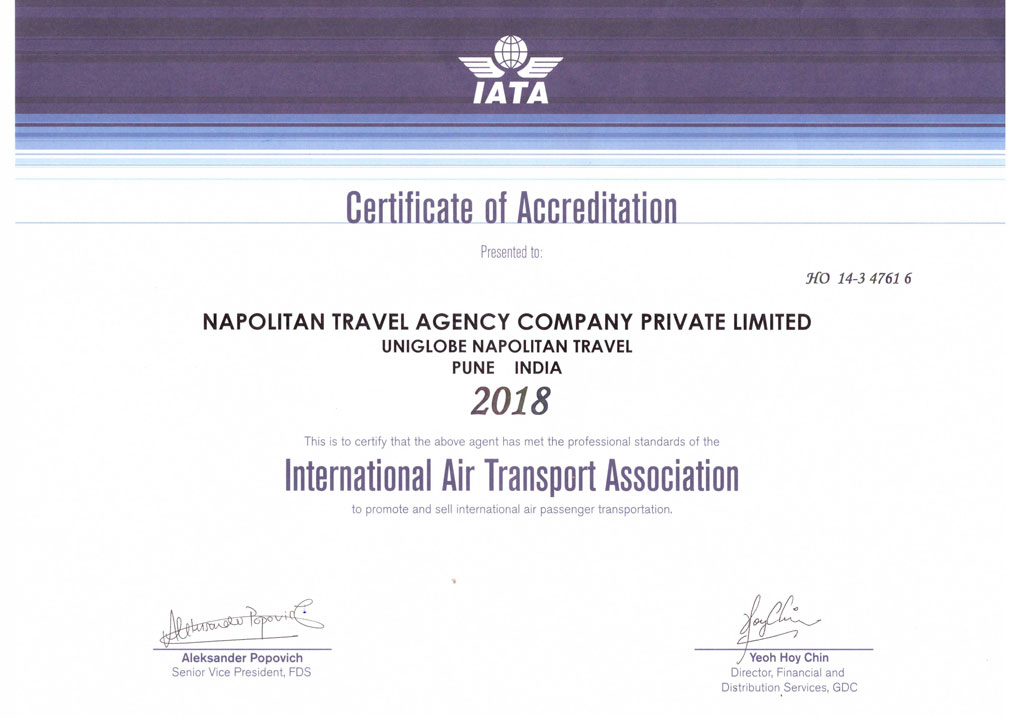 Certified / Accredited International Travel Agent in Pune